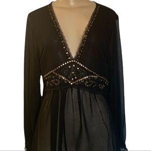 NWT Coupe Sheer Black Gem Bead Embellished Blouse